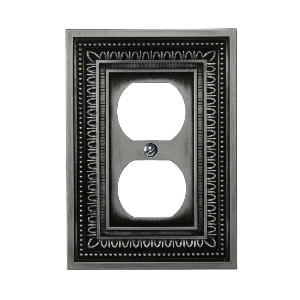 Amerelle Wall Plates Filigree 1 Duplex Wall Plate  Antique Nickel  Products