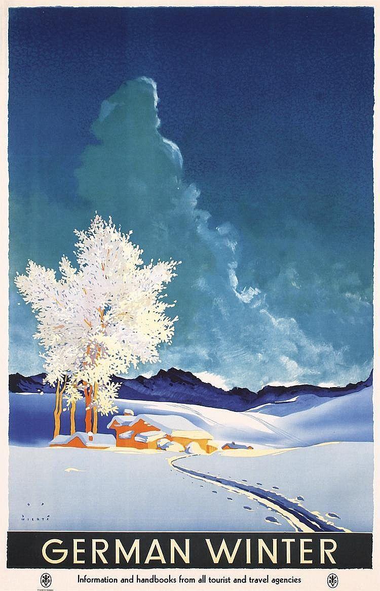 Jupp Wiertz, artwork for travel poster German Winter, 1935.