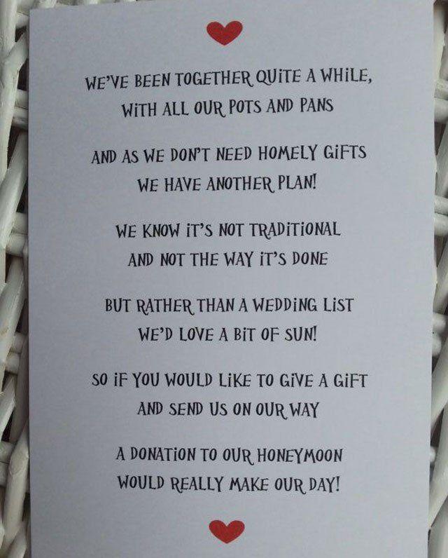 Wedding Gift Honeymoon Poem: A Donation To Our Honeymoon - Wedding Poem