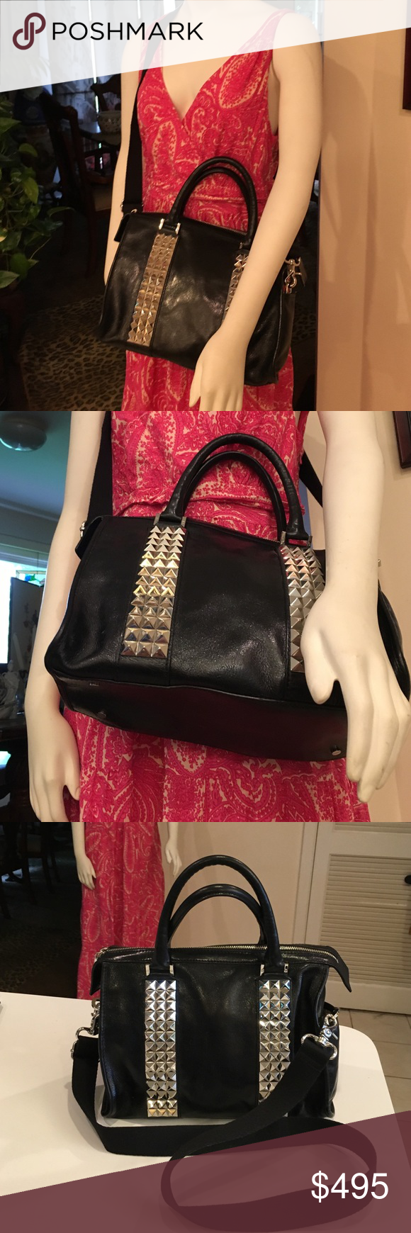 Tory Burch Black Leather with silver studs !! Comes with strap silver feet on bottom silver design on both sides this is a beautyin perfect shape hardly used selling for a family member great size holds a lot reasonable offers only!! Tory Burch Bags Satchels