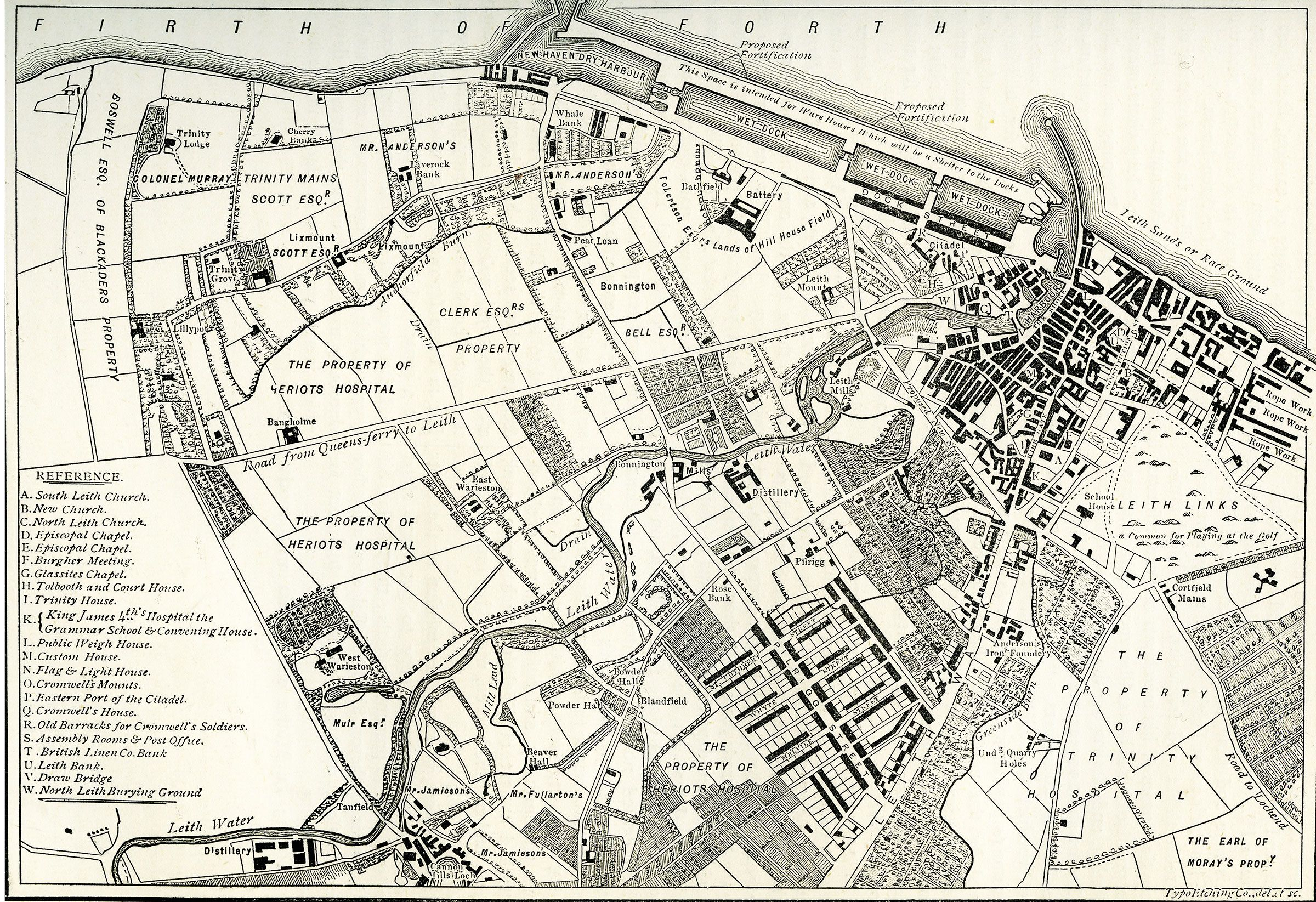 Leith Scotland Map.Engraving From Old New Edinburgh Map Of Leith 1804