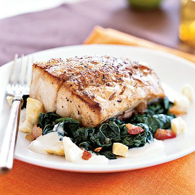 Roasted black bass with apple cider kale sauce seafood for Bass fish cooking