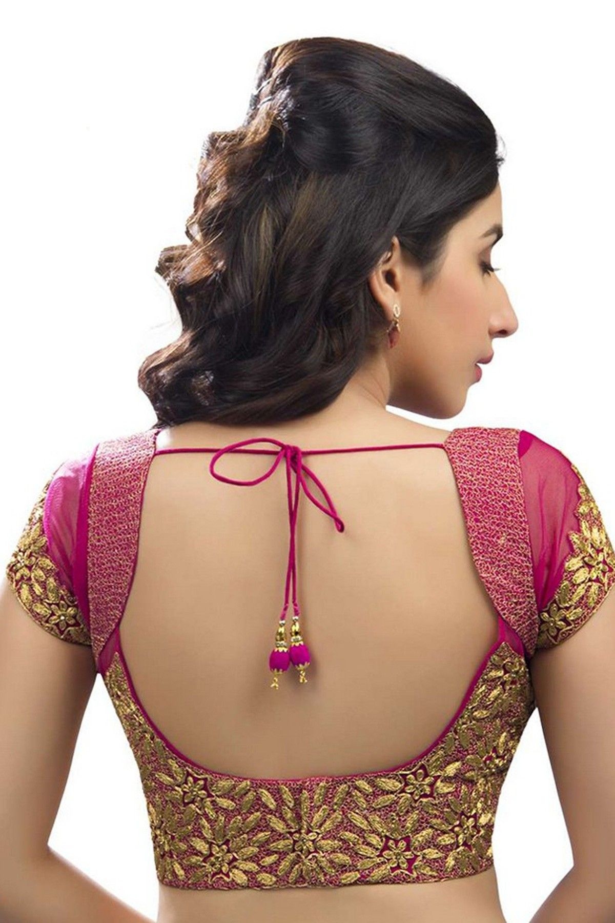 Saree blouse design sleeve dark pink u gold festive wear raw silk u net blouse with cap