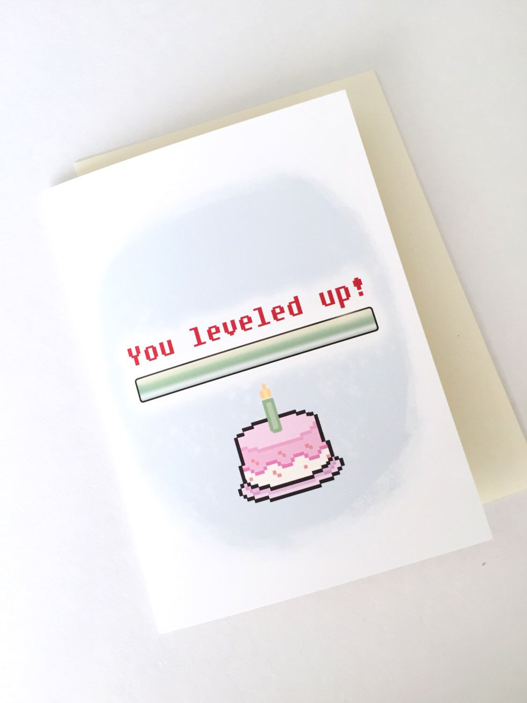 Geburtstag Karte - Geeky Geburtstagskarte - Spielerkarte Gruß Level ...