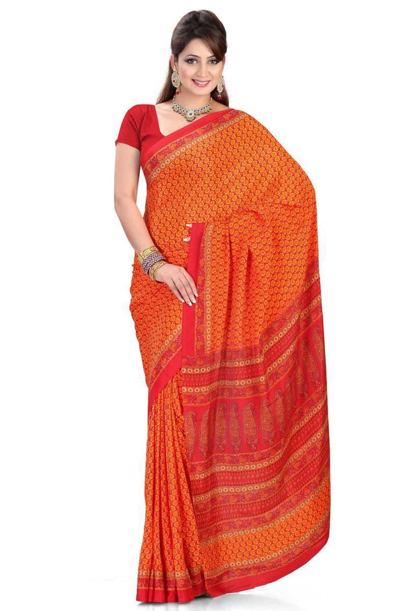 Women fashion saree orange designer party wear saree online from skysarees  sari u lady