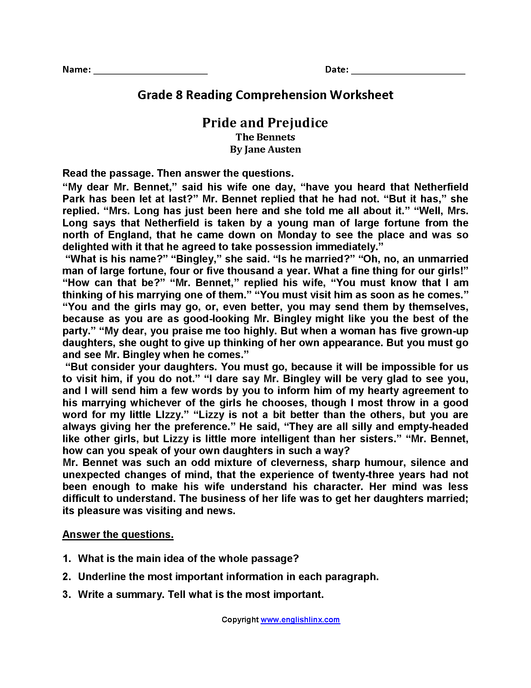 Pride and Prejudice Eighth Grade Reading Worksheets   Reading worksheets [ 2200 x 1700 Pixel ]