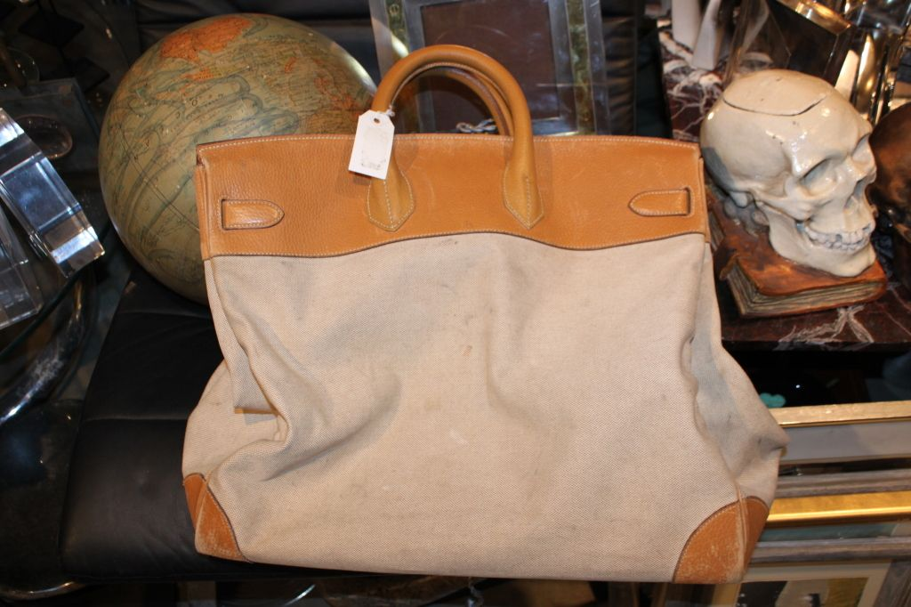 4275046f17 Hermes 50cm Canvas and Leather Travel Bag image 2