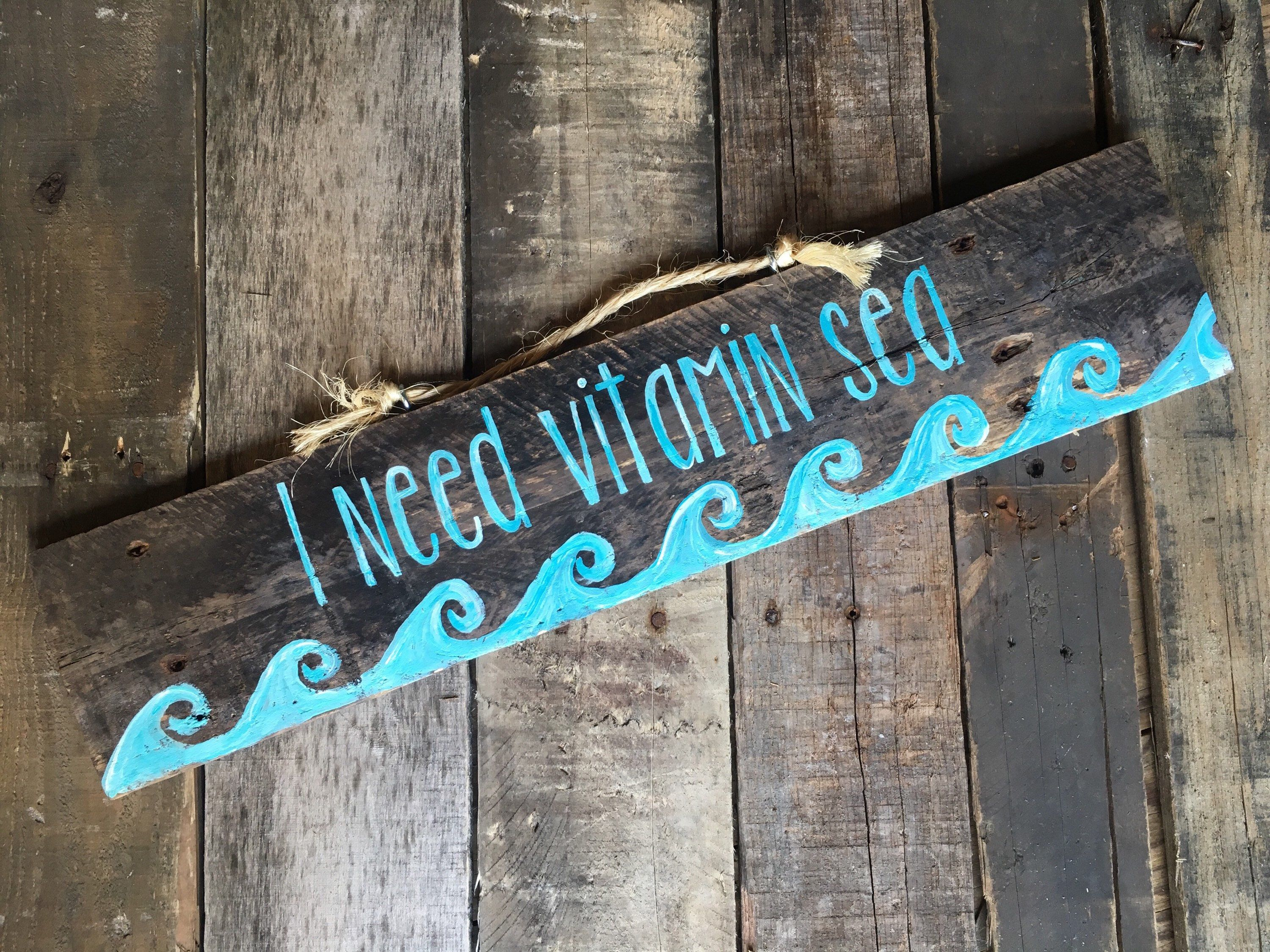 I Need Vitamin Sea Pallet Sign From My Etsy Shop Https Www Etsy Com Listing 492780033 Beach Signs Beach Deco Beach Signs Beach Signs Decor Beach Signs Wooden