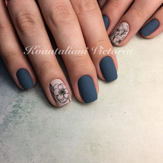 Matte Nails Pretty Blue Color And I Like The Flower Design On Taupe