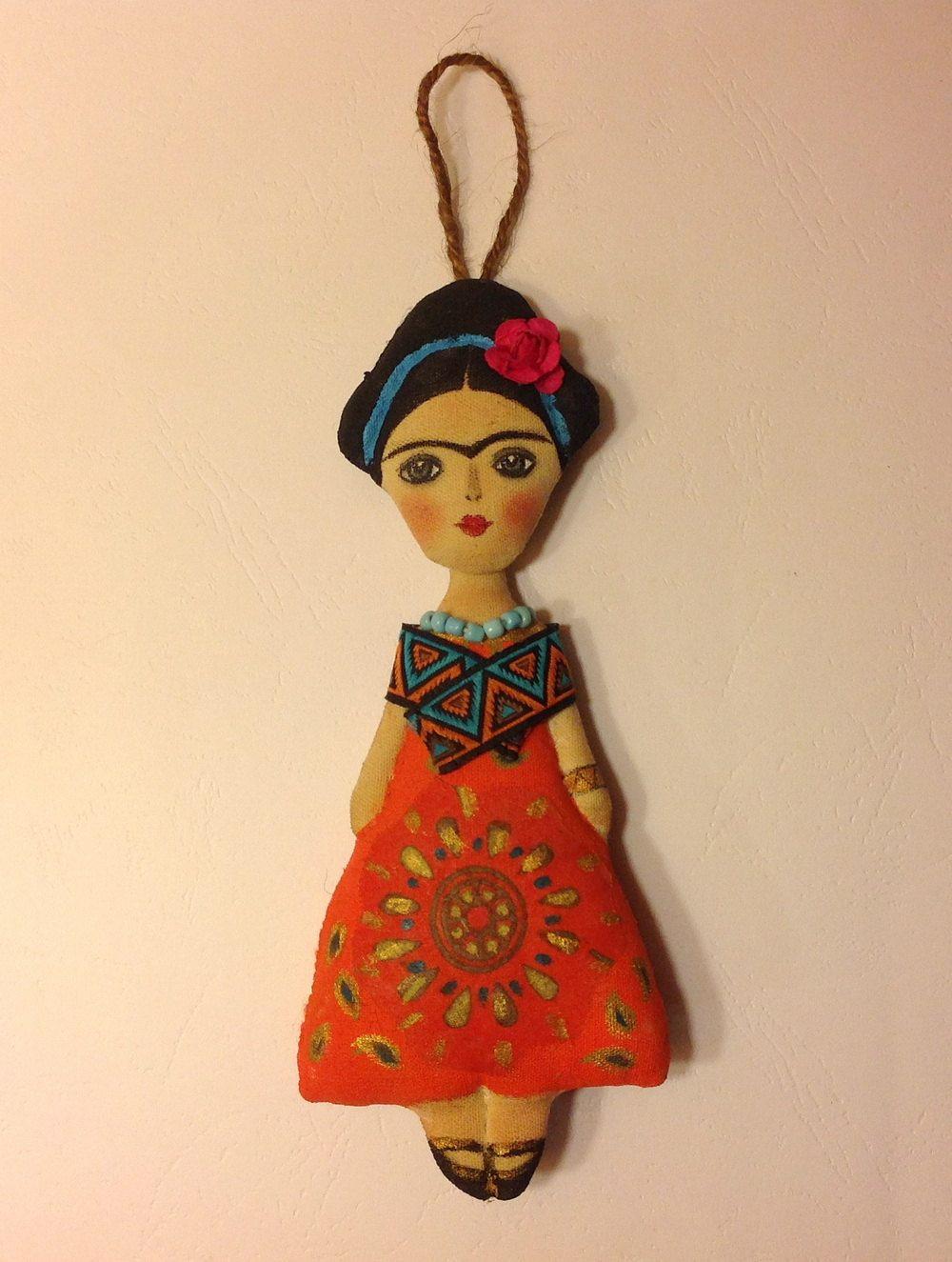 Dolls handcrafted-Art doll Frida-Fabric doll-Diego Rivera-Frida Kahlo-Frida doll-Human figure doll-Frida-Mexican art doll-Mexican painter (40.00 USD) by NatashaArtDolls