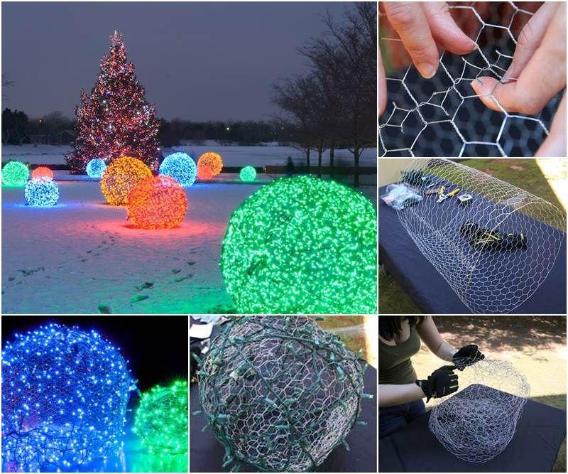 Creative Ideas Diy Outdoor Christmas Light Balls Christmas Projects Diy Diy Christmas Lights Christmas Projects