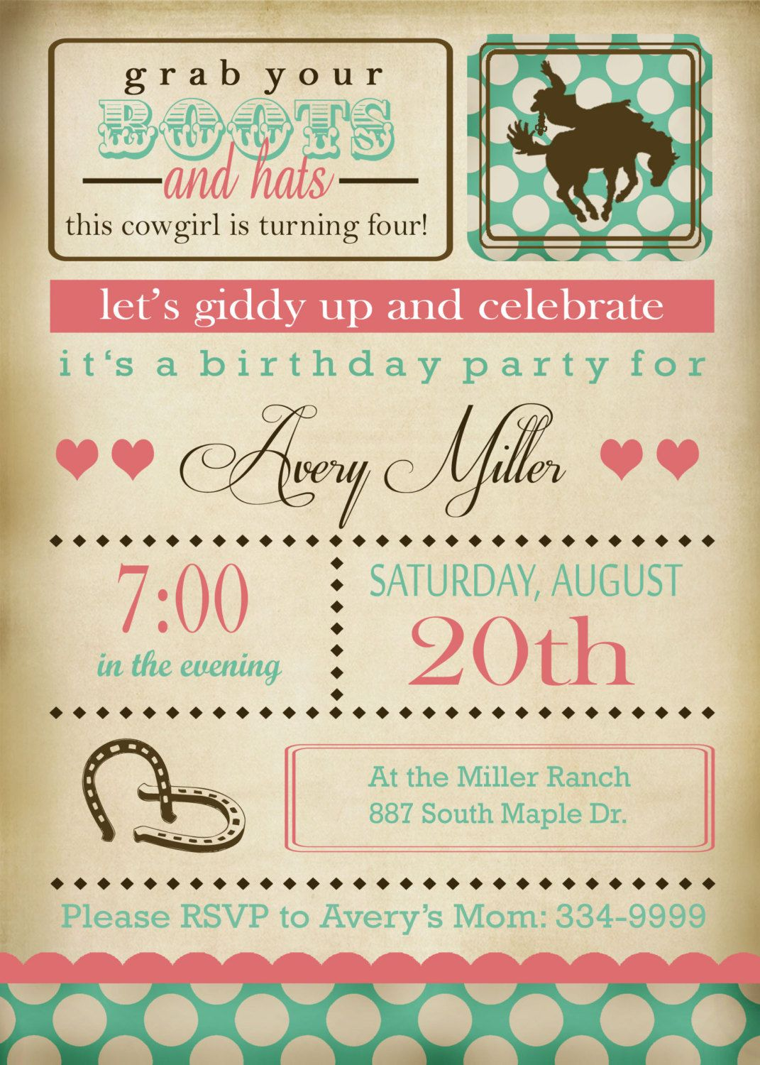 Printable Cowgirl Invitation and Party by EThreeDesignStudio, $30.00 ...