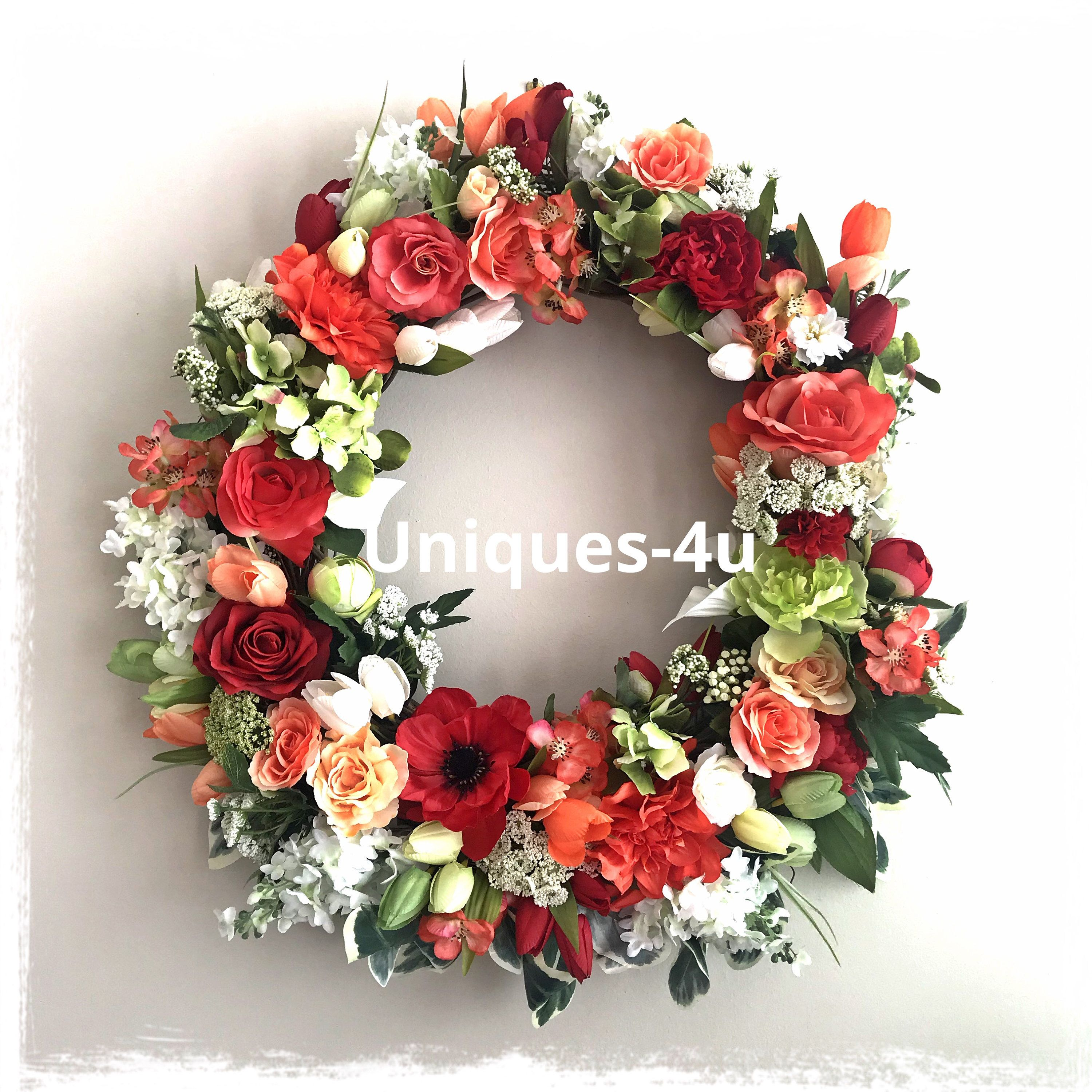 Colors of spring 3 silk flowers wreath red green white colors excited to share the latest addition to my etsy shop colors of spring mightylinksfo