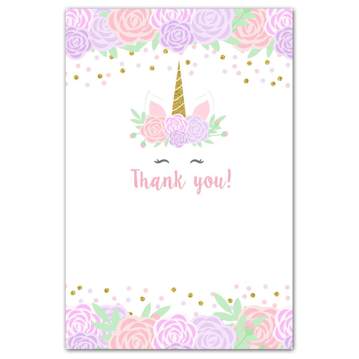 30 Unicorn Thank You Cards Purple Pink Blank Unicorn Card Thank