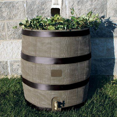 Rts Home Accents Round Rain Barrel With Planter Atgstores Yard