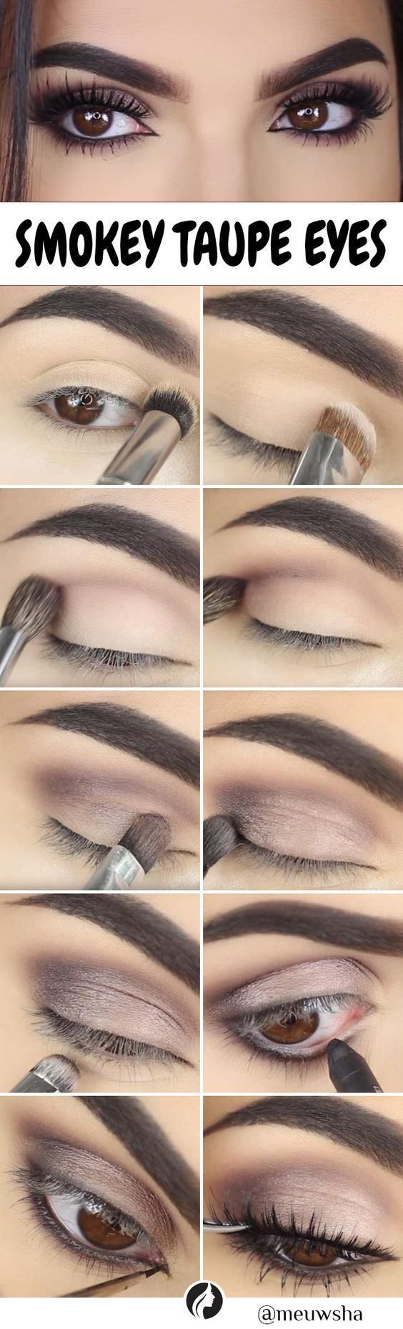 This step by step Smokey Taupe Eye Makeup DIY is perfect and can be followed eas #eyemakeup