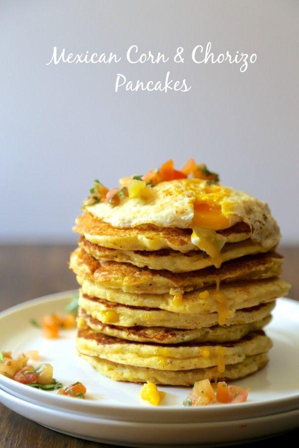 mexican corn & chorizo pancakes with fried egg & heirloom tomato salsa