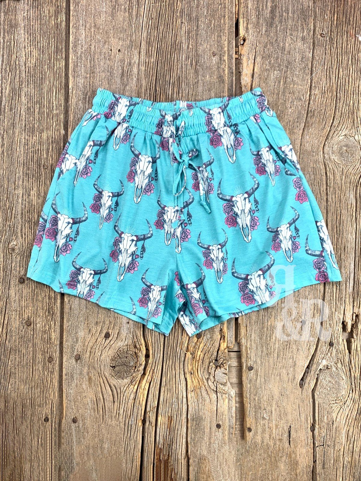 Cow Skull Turquoise Shorts Giddy Up Glamour Country Girls Outfits Turquoise Shorts