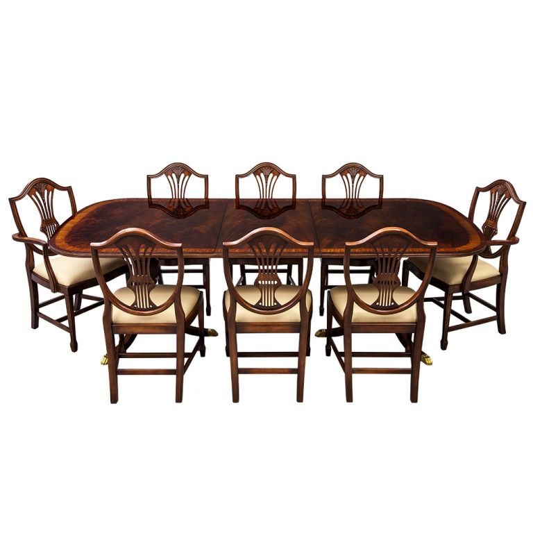 Flamed Mahogany Duncan Phyfe Style High Gloss Dining Table And