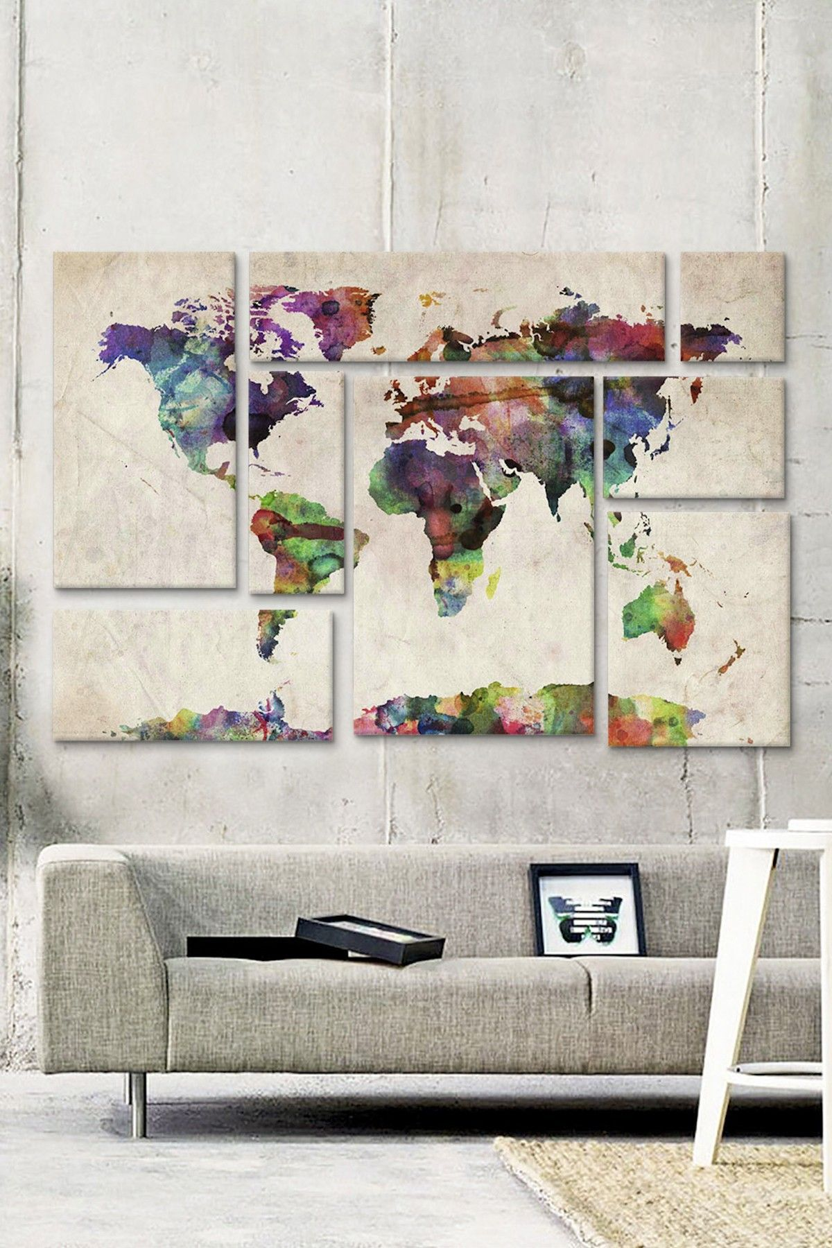 World Map Urban Watercolor II 8 Panel Sectional Wall Art HauteLook