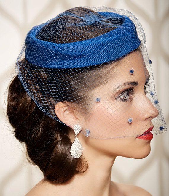 net hat blue headpiece birdcage headpiece headband hat  Great Gatsby russian veil Formal blue hat fascinador birdcage veil