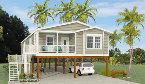 Exterior Rendering Of Jacobsen Home Model Tnr 6481b Raised On Stilts Small Beach Houses House On Stilts Stilt House Plans