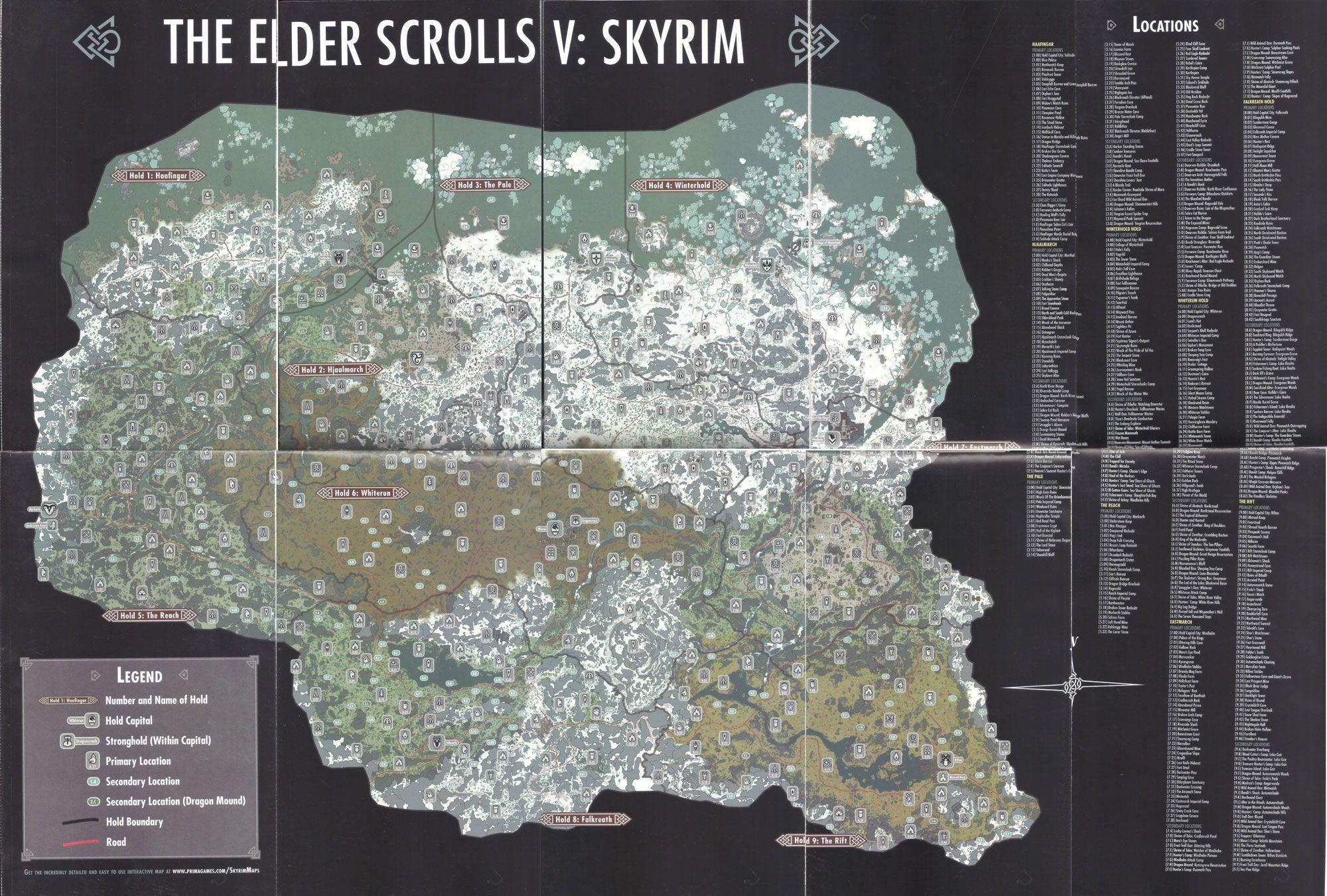 Elder Scrolls Skyrim Dragon Shouts Locations Map | Scrolls Of ... on