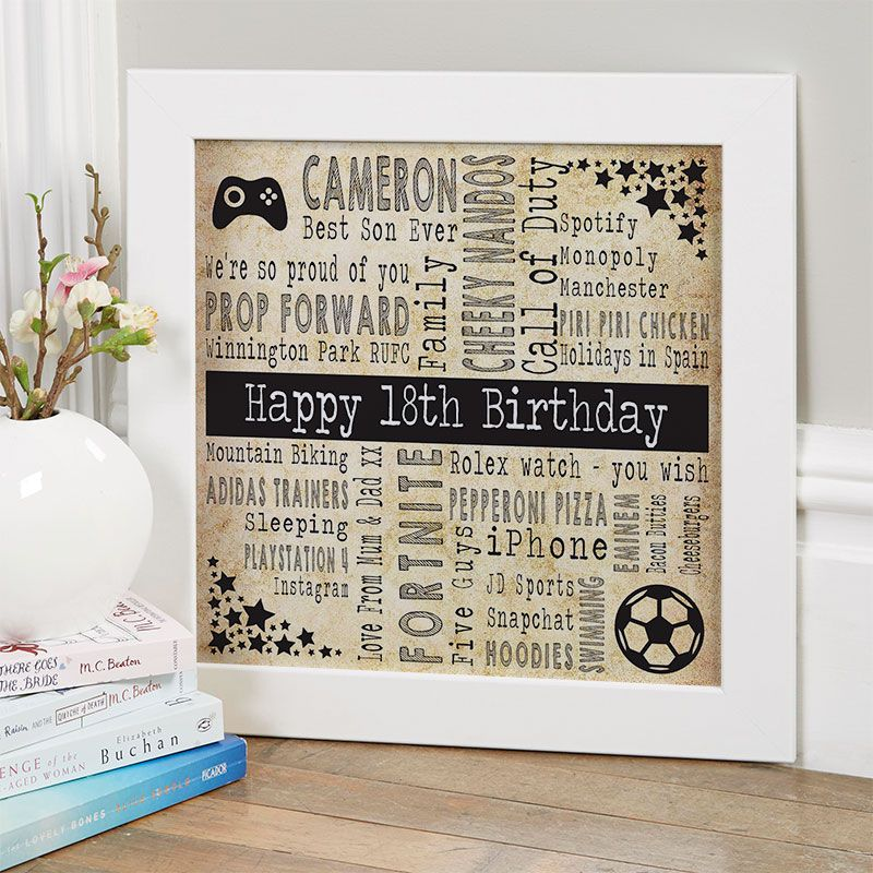 18th birthday gift for boys of favourite things with