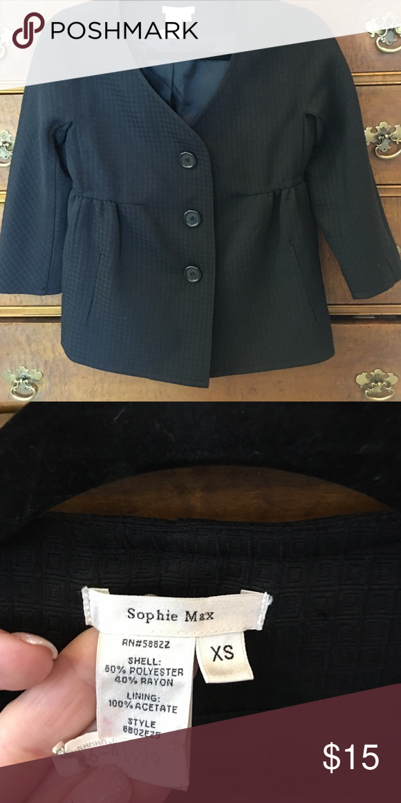 Black Sophie Max Jacket sz XS Fabulous black textured fabric jacket. Three quarter sleeve. Fully lined! Dry cleaned and ready to wear. Sophie Max Jackets & Coats