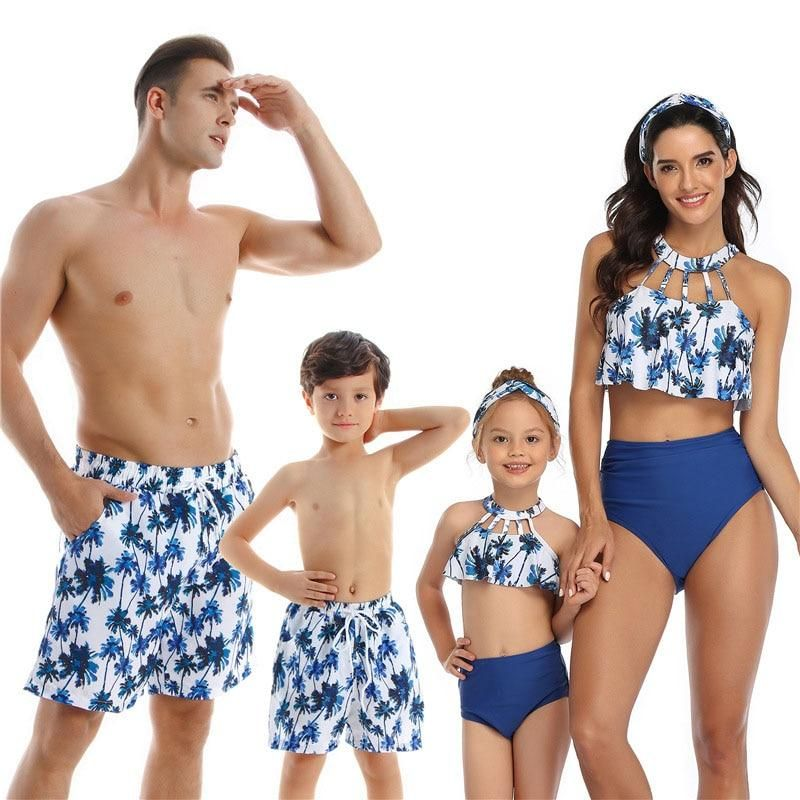 EDOTON Mother and Girl Family Matching Floral Swimwear High Waisted Bikini Set Bathing Suits