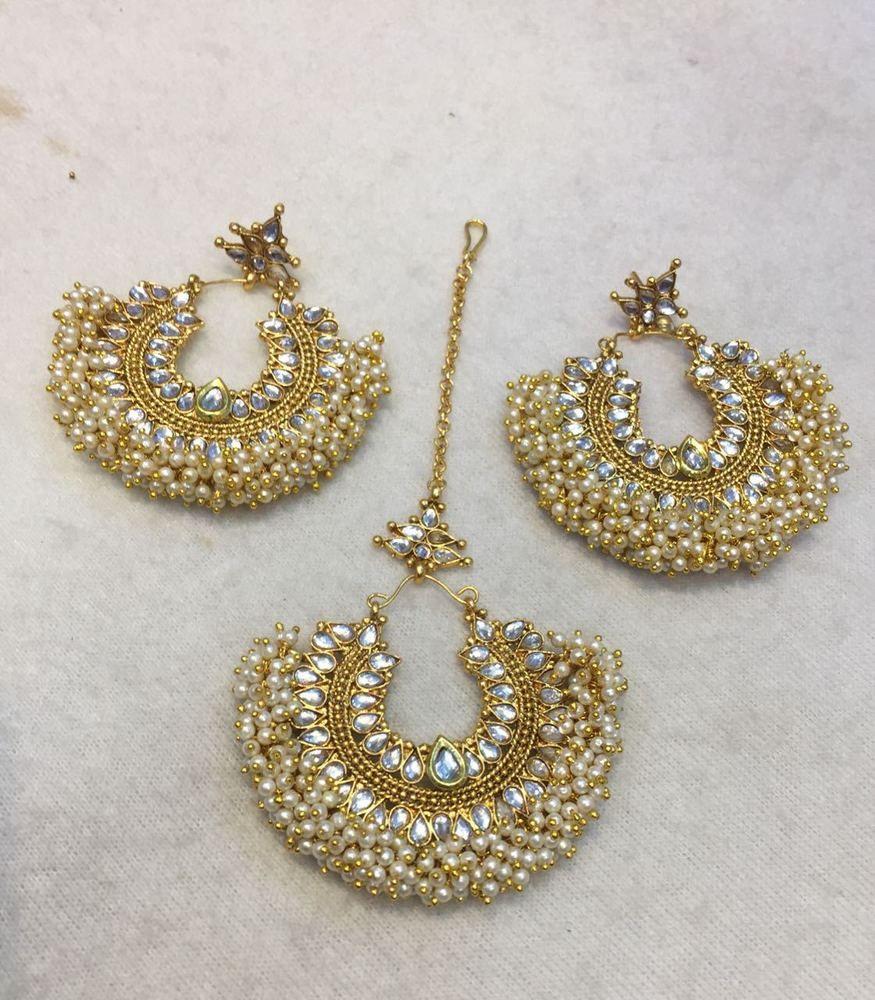 Earring Tikka Set Indian Bollywood Tikka Headpiece /& Earring Set Wedding Bridal set Pakistani Earrings Punjabi Mughal Style