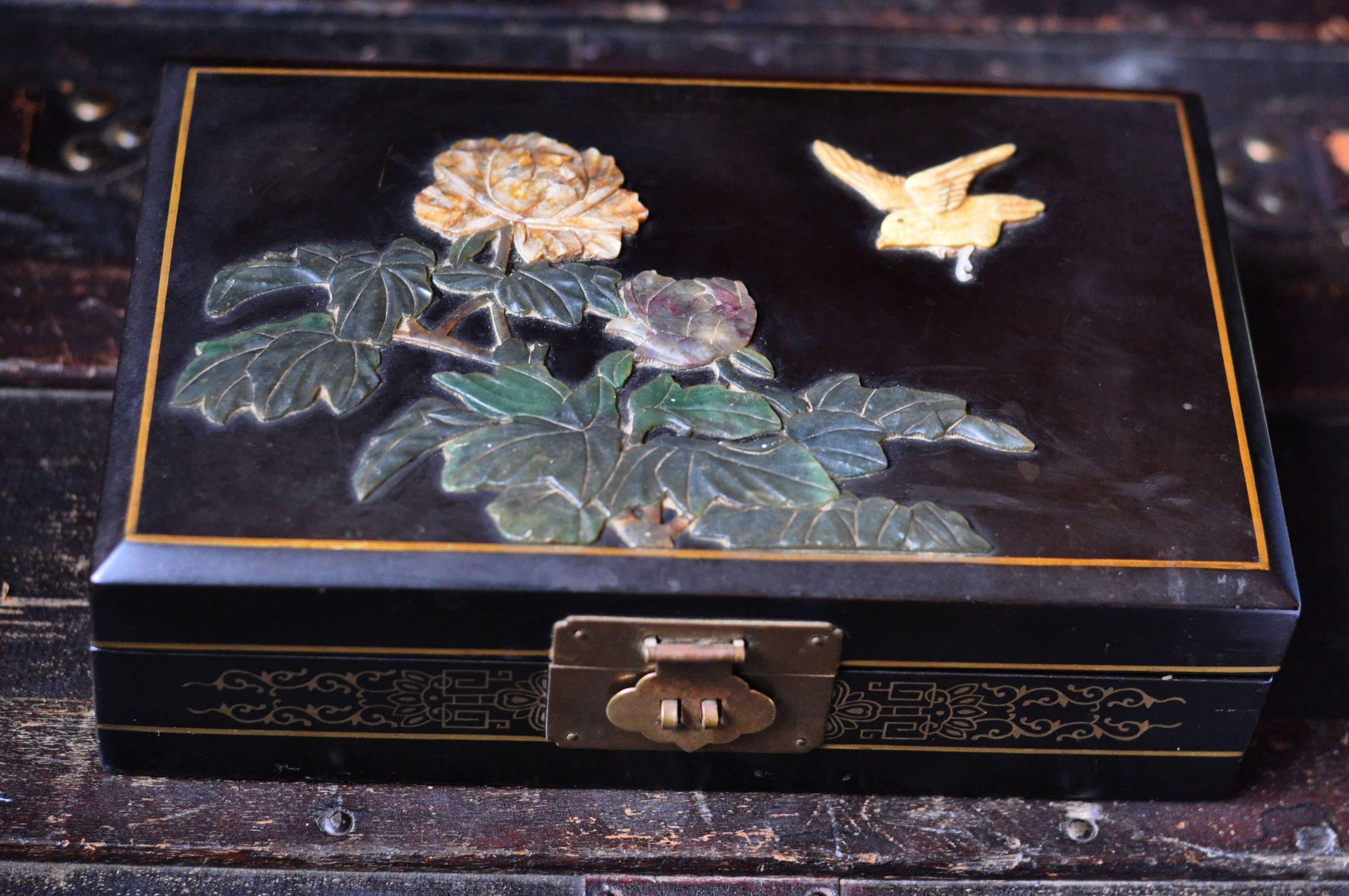 Vintage Jewelry Box Hand Carved Stone Ebonized Asian Collectible
