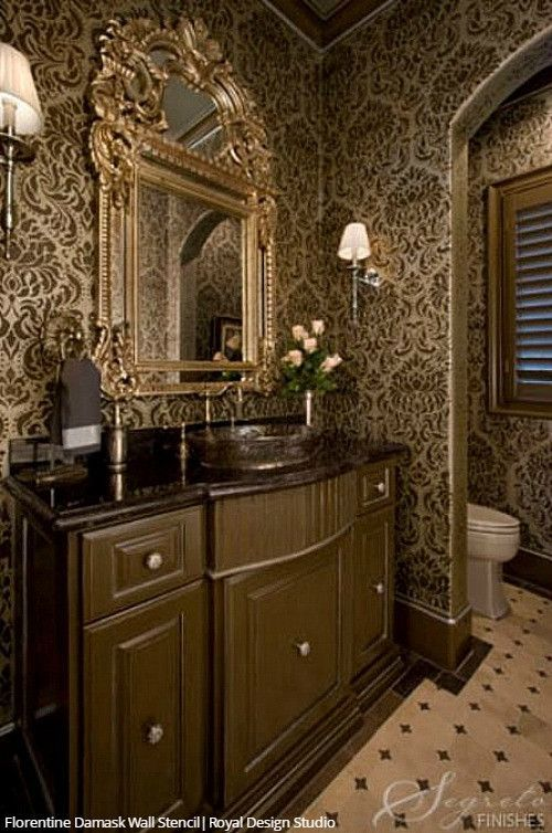 Classic Traditional Glam Bathroom Wall Stencils Large Damask Wallpaper Pattern