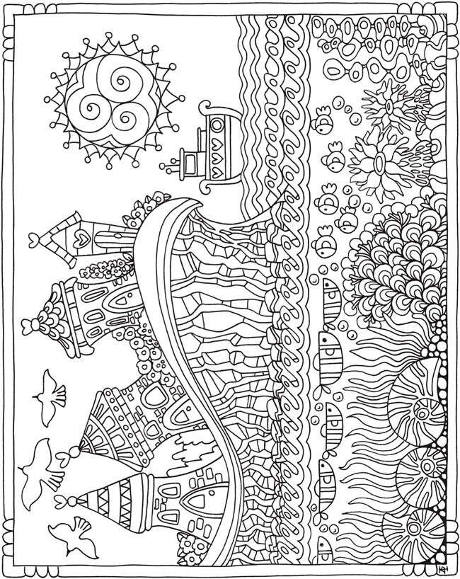 Seaside Sea Ocean Cottage Cottages Beach Summer Printable Coloring Page By Dover Publications Coloring Pages Coloring Books Cute Coloring Pages