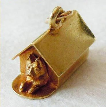 Vintage Dog Sitting In Its Doghouse 14k Gold Charm ~ From A Genuine Find