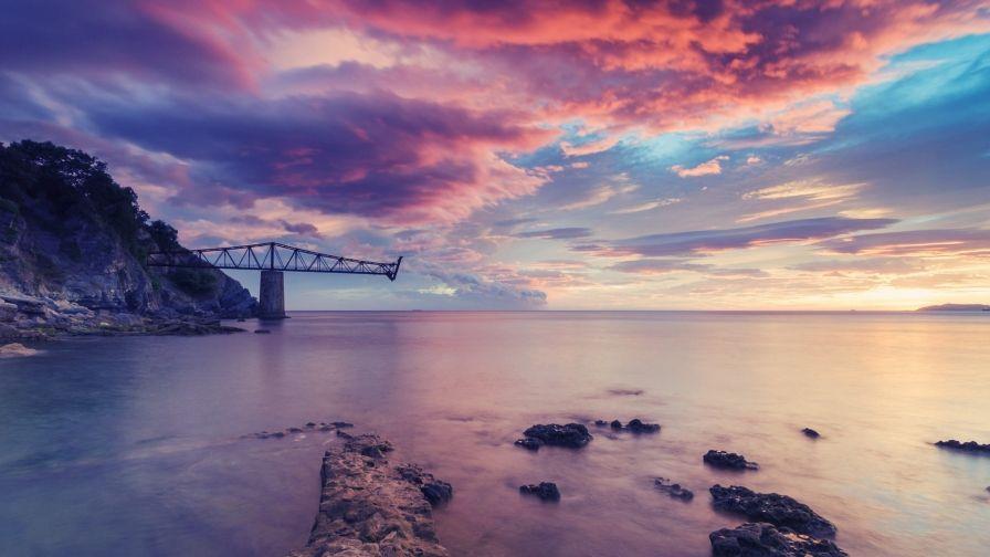 Beautiful Atlantic Ocean Sunset Wallpaper Free Download High