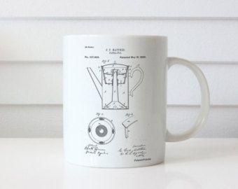 Coffee Percolator 1880 Patent Mug, Vintage Coffee, Coffee Shop Decor, Diner Decor, Kitchen Mug, PP0078