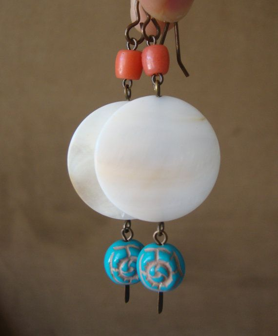 Baja Vacation // Southwest Dangle Earrings // Mother of Pearl, Coral, & Acrylic by CaliQ Jewelry Designs