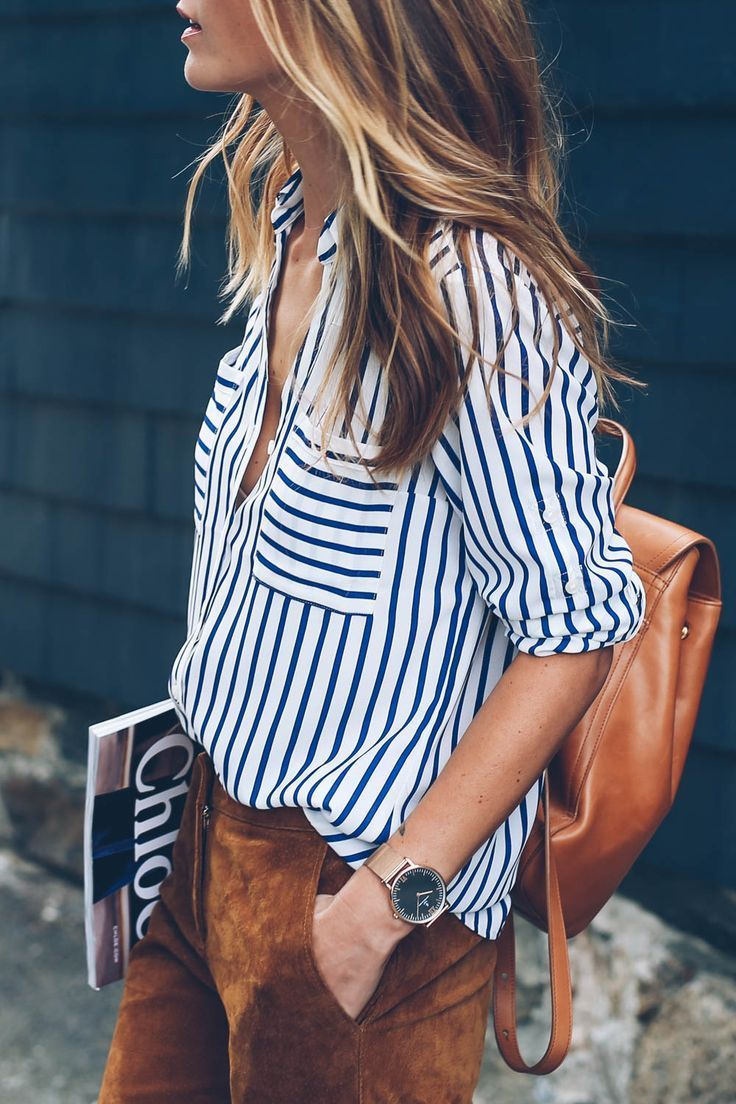 b923df71d98 stripes and suede Blue Striped Shirt Outfit