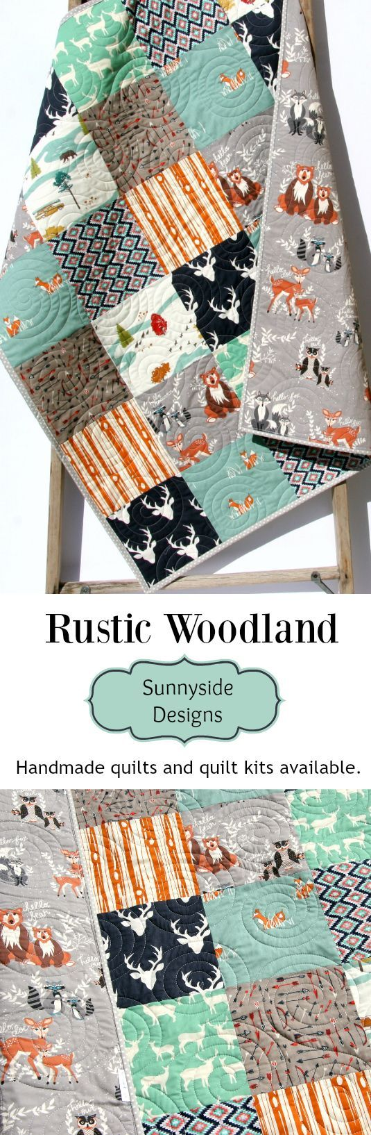 Rustic Woodland Handmade Quilt,  Forest Woodland Baby Blanket, Unique Crib Bedding, Baby or Toddler Size, Baby Quilt Kit, Toddler Quilt Kit, Throw or Twin Quilt Kit, DIY Craft Project by Sunnyside Designs