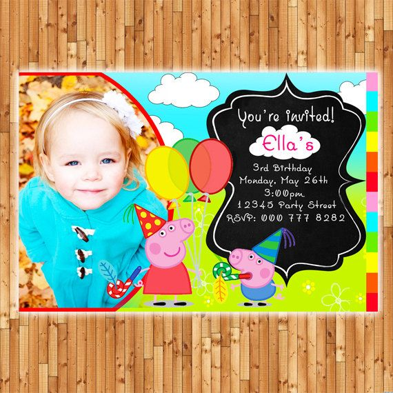 Peppa Pig Photo Invitation