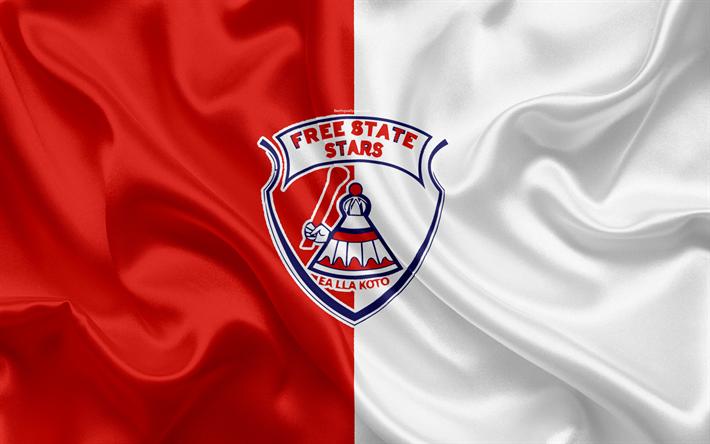 Scarica Sfondi Free State Stars Fc 4k Logo Rosso Di Seta Bianca