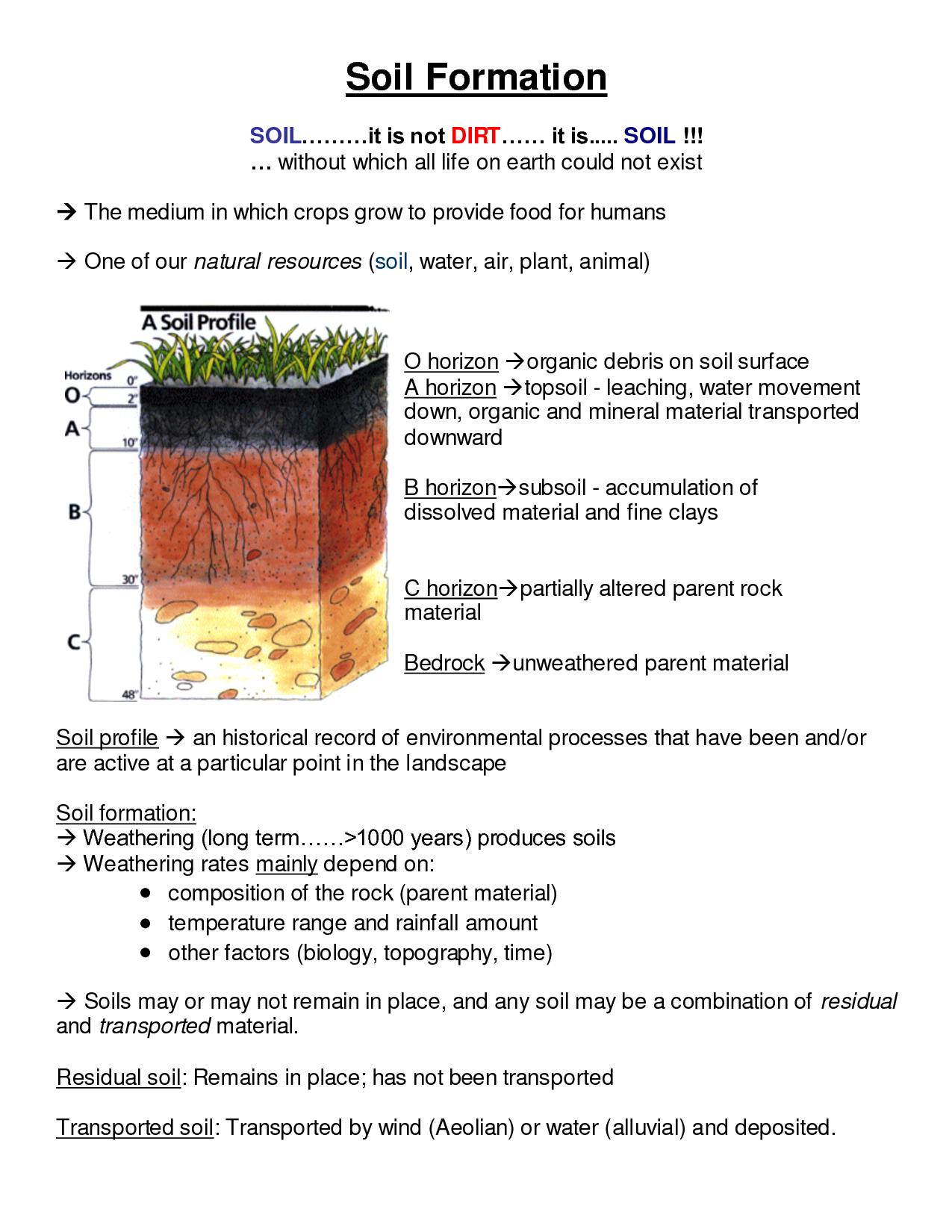Soil Profile Worksheet