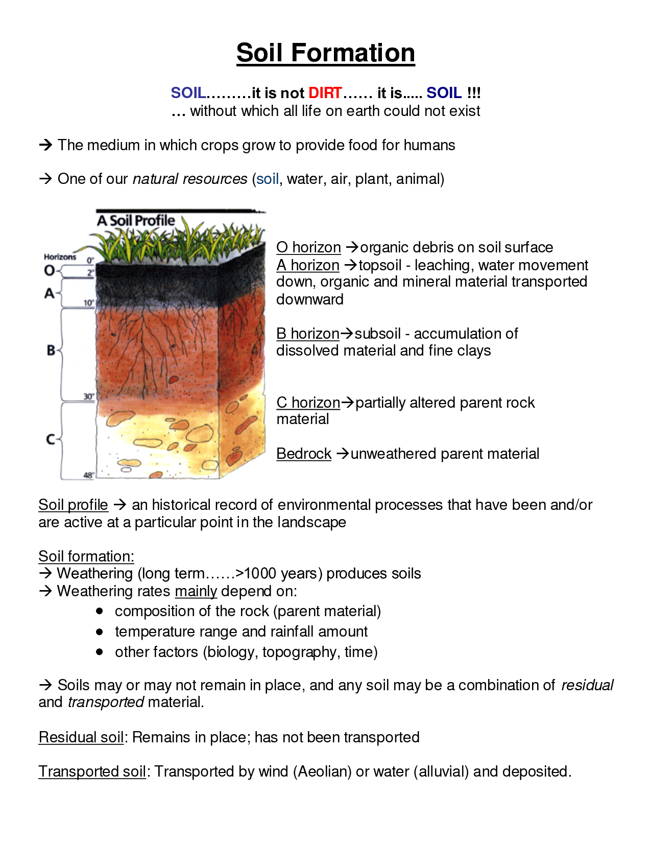 Soil Profile Worksheet