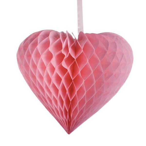 Pink Paper Heart Hanging Decoration 40cm X 44cm Hanging Decor Heart Decorations Pink Paper