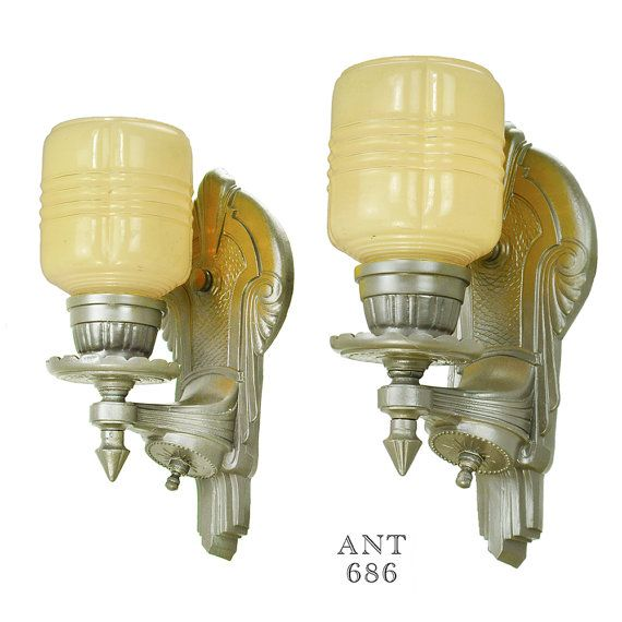 Art Deco Streamline Style Wall Sconces Pair of by DecoLighting ...