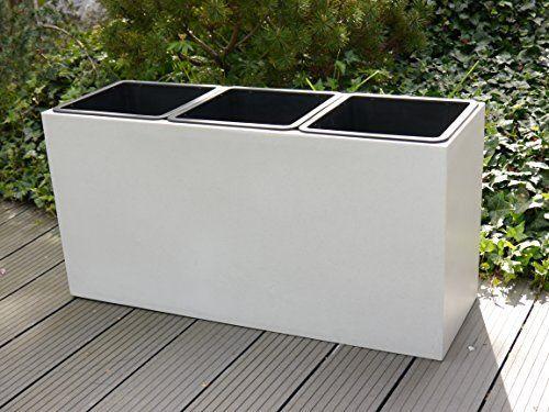 Pflanztrog aus Fiberglas 82x28x40cm in perlweiß, für 3