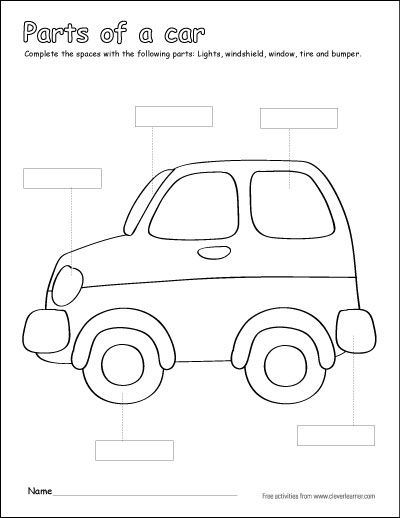 Label And Colour The Parts Of Car Free Printable Childrens Worksheet