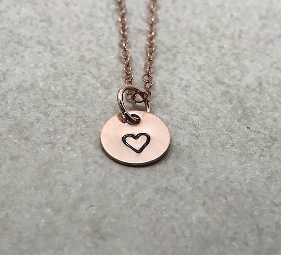 Small Heart Necklace Rose Gold Filled Hand Stamped Jewelry New