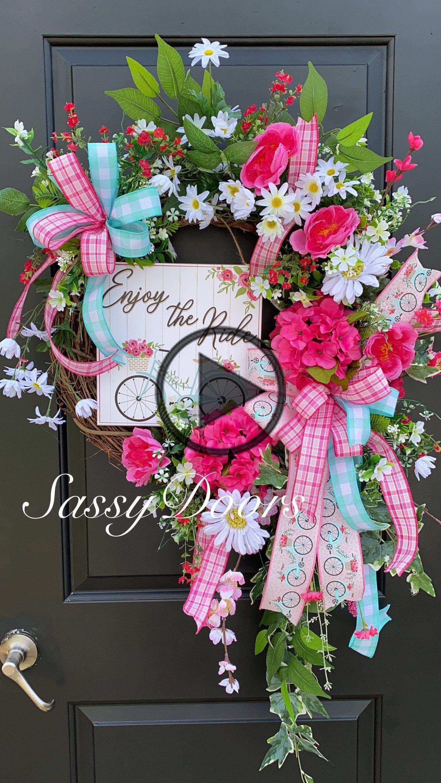 Photo of Spring wreath, hydrangea wreaths, wreath for the front door, grapevine wreath, cheeky door wreath,